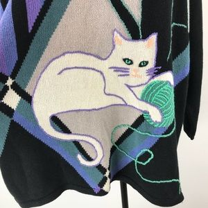 Vintage Sweaters - Bob Mackie Vtg. Wearable Art Kitty Cat Sweater 2XL